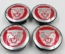 4x Red Jaguar Alloy Wheel Centre Caps XF XJ XJS XK S-TYPE X-TYPE 59mm Hub Cover