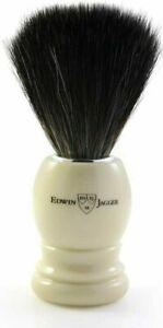 Edwin Jagger Black Synthetic Fiber Shaving Brush, Ivory Handle - Large