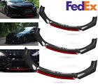 Universal Car Front Bumper Lip Spoiler Splitter Body Kit Carbon Fiber Blackred