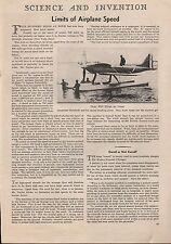 1932 Limits Of Airplane Speed - Lt. Stainforth - Herr, Naylor