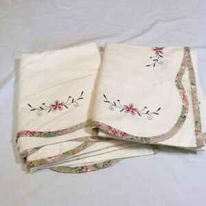 """2 Off White w/ Embroidered Flowers Curtain Panels JC Penney Cotton 42"""" x 63"""""""