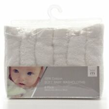 Meridiana 100% Soft Baby White Washcloths Pack Of 6