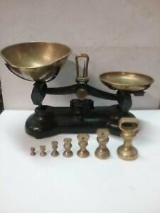 """Vintage Black Libra """"Librasco"""" Kitchen Balance Scales & Weights Cast Iron Brass."""