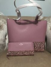 Kate Spade Greta Court Neda Dusty Peony Pink Glitter Zip Around Wallet WLRU5217
