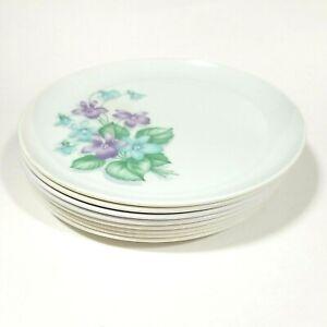 8 Vintage Royalon Melmac Dinner Plates Purple Blue Floral Corsage Camping Dishes