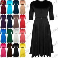 3/4 Sleeve Dresses for Women with Belt Midi