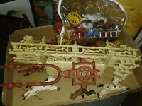 VINTAGE CAST IRON HORSE DRAWN FIRE CARRIAGE PUMP WAGON WITH FIREMAN lot