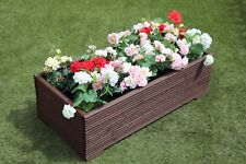 1 METRE LARGE WOODEN GARDEN PLANTER TROUGH EXTRA WIDE IN RONSEAL BROWN DECKING