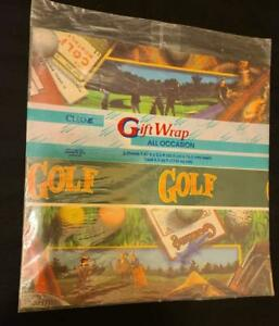 CLEO All Occasion Gift Wrap–GOLF Theme (2-sheets) Brand new/sealed package-1996