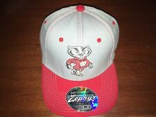 Wisconsin Badgers Stretch Fit Hat (Baseball Cap) Medium/Large Gray/Red