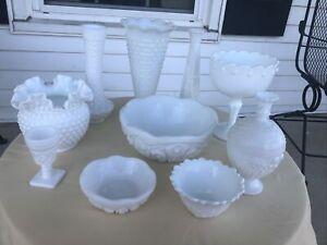 Huge Lot Of Milk Glass 11 Pieces Vase Vases Bowls Etc...