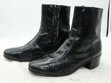 Florsheim Mens Sz 9 Dress Side Zip Black Leather Beatle Ankle Booties Boots