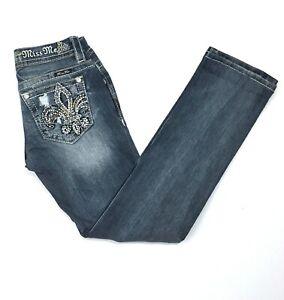 Miss Me Signature Straight Embellished Medium Wash Womens Blue Jeans 27x27