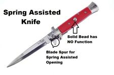 """Duck Red Spring Assisted Italian Style Stiletto Pocket Knife 4"""" Blade"""