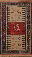 Tribal Brown Rust Geometric Kilim Oriental Area Rug Wool Hand Woven 3x6 Carpet