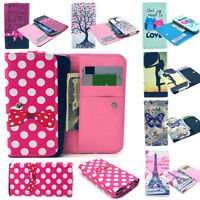Stand Wallet Case Cover Card Slot Printed Leather For Various Phone Flip Luxury