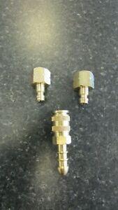 """BBQ Quick Release 2 Piece Tail Piece/Coupler Brass 8mm Cadac 1/4"""" BSP LH"""
