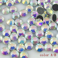 SS20 5mm 1440 pcs white AB color Crystal Clear Hot Fix Iron On Rhinestone beads