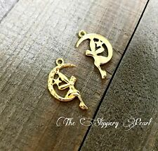 4 Fairy Charms Shiny Gold Tone Fairy Tale Charms Moon Pendants
