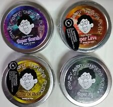 "Crazy Aaron's Thinking Putty Super Illusions 4 PACK 2"" tins Scarab Lava Fly Oil"
