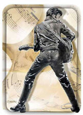 """ELVIS PRESLEY IN BLACK LEATHER AND SHEET MUSIC LARGE SERVING TRAY 8 1/2""""X12"""" NEW"""