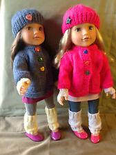 "Poupées FASHION Vêtements Knitting Pattern. 18"" poupée. Cardigan Set to Fit AG, Gotz"