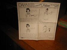 Dawn Doll, Melanie,Instruction Sheet in Very Good Condition