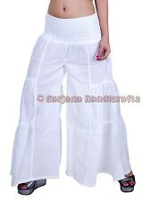 New Women White Cotton Palazzo Harem Pants Dance Trousers Afghani Yoga Hippie