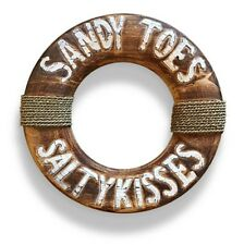 Sandy Toes & Salty Kisses Rustic Timber Buoy Beach House Sign w/ Hanging String