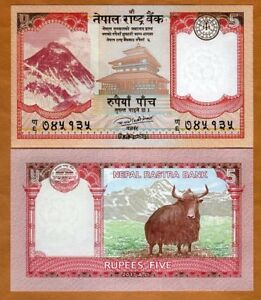 Nepal, 5 Rupees, 2017, P-New, UNC > Everest, Yak
