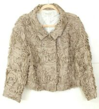 VGUC DRIES VAN NOTEN Women's Size EU 44 US 12-14 Floral Layer Taupe Snap Jacket