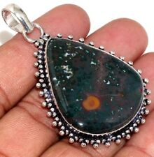 U7558 Blood Stone 925 Sterling Silver Plated Pendant 2.3""