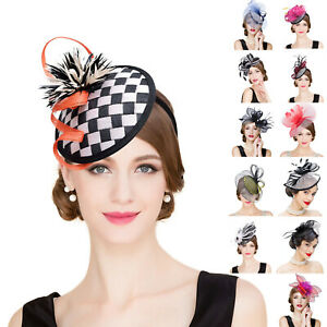 Womens Sinamay Fascinator Cocktail Wedding Church Bridal Headpiece Headband Hats