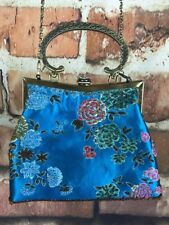 Silk Purse Blue Beaded Flowers Brass Handle And Strap Rhinestone Snap Button
