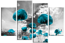 TURQUOISE POPPIES GREY FLORAL CANVAS PICTURE 4 PANEL SPLIT WALL ART MULTI 100cm