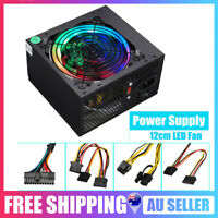 500W Computer Power Supply ATX 12V Gaming PSU Multicolor LED RGB Fan 24 Pin AU