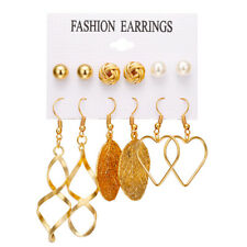 6Pairs/Set Vintage Pearl Tassel Leaf Hoop Earrings Women Ear Stud Drop Statement