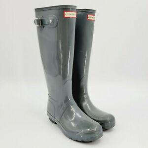 Hunter Women's Original Tall Gloss Rain Boot Gray Sz 8F WFT1000RGL Waterproof