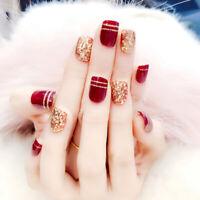 24pcs Fake Nails Art Tips Nail False Full Cover Manicure Decor Back With Glue