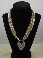 Fossil Brand Two Tone LUV STORY Multi Chain Heart Convertible Necklace JA4726