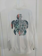 Adults White Graphic Hoodie Size 3xl XXXL Ocean Turtle Soul Tropical HAS STAINS