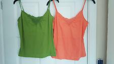 TopShop vest bundle size 10 12 lime green & peach / orange crochet trim cami top