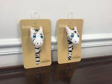 New Little Wonders Zeta Zebra Pacifier Clip Boy/Girl Baby Shower Gift *Lot Of 2*