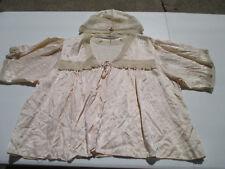 Antique Bed Jacket Sleeping Bonnet Cap Silk Lace Pale Pink Victorian Boudoir