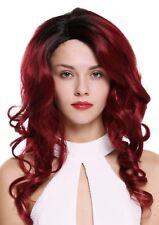 wig Me Up - Perruque pour femme ondulés Raie OMBRE NOIR ROUGE