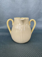 Belleek Twin Spout Two Handled Creamer Jug Pitcher - Cream/Yellow - Green Mark