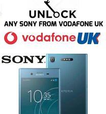 Sony Xperia XZ1 XA1 L2 L1 X Z5 Z3 E5 E4 E3 E5 M4 Aqua Vodafone UK Unlock Code
