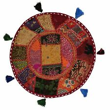 Round Throw Pillow Cover Footstool Floor Patchwork Embroidered Decor Cushion