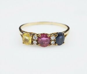 Antique 18k 1ct Yellow Blue Ruby Sapphire Diamond Band Ring Size 8.75 RG2599
