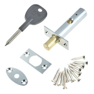 DOOR RACK BOLT Mortice Dead Lock Star Key EXTRA Security CHROME BRASS BLACK +Key